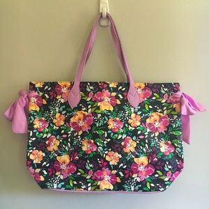 Floral Massive Tote Bag Faux Leather NWOT New